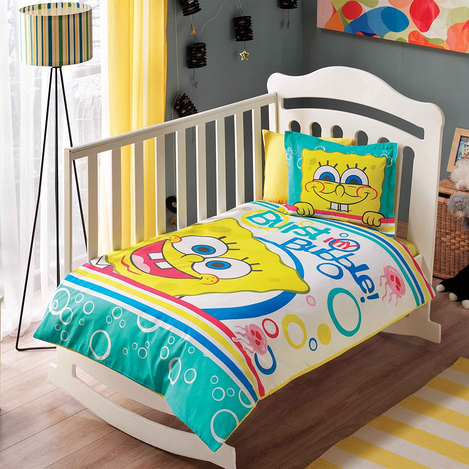 100% Organic Cotton Soft and Healthy Baby Crib Bed Duvet Cover Set 4 Pieces, Sponge Bob Bubble Baby Bedding Set TAC