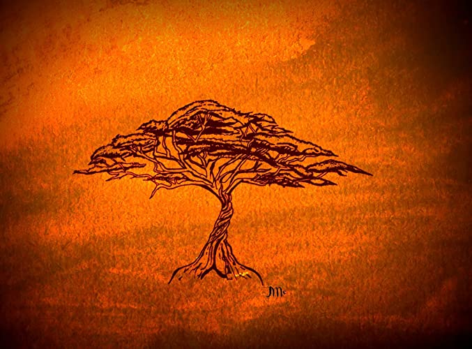 Amazon Gold Acacia Tree Print African Art African Print Gold