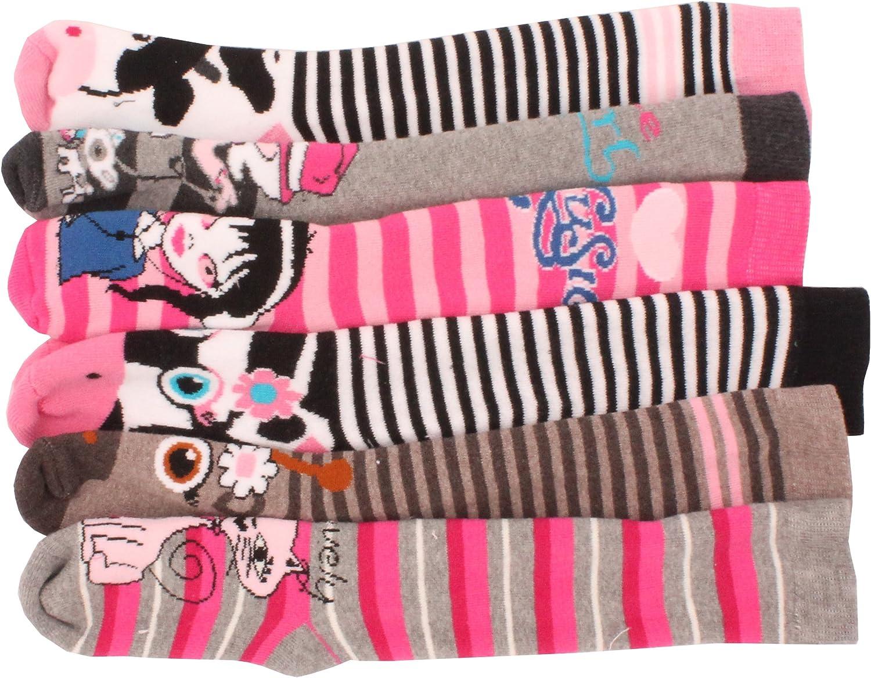 6 x Girls Kids Children Wellington Welly Animal Print Thermal Warm Long Socks