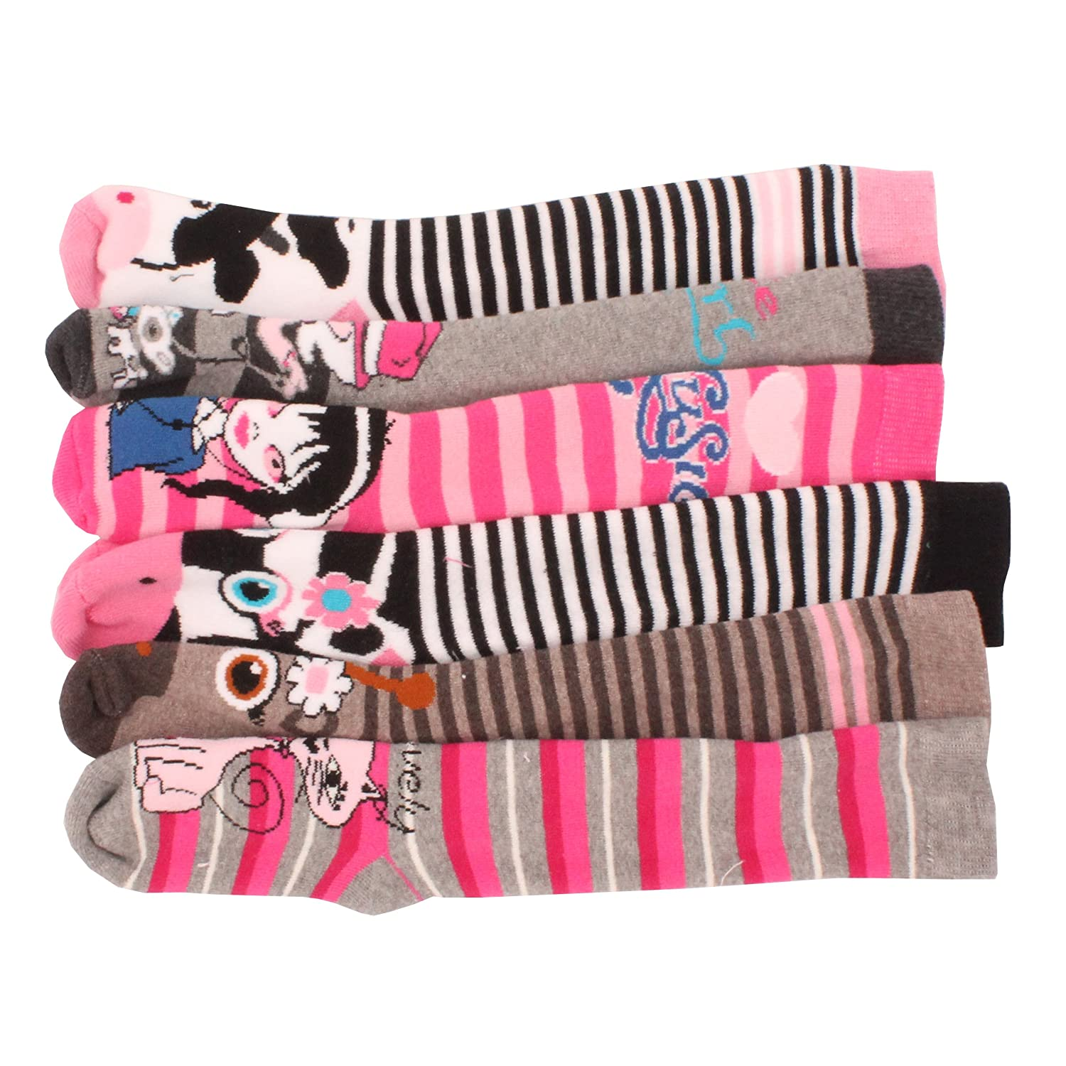 6 x Girls Kids Children Wellington Welly Animal Print Thermal Warm Long Socks Britwear
