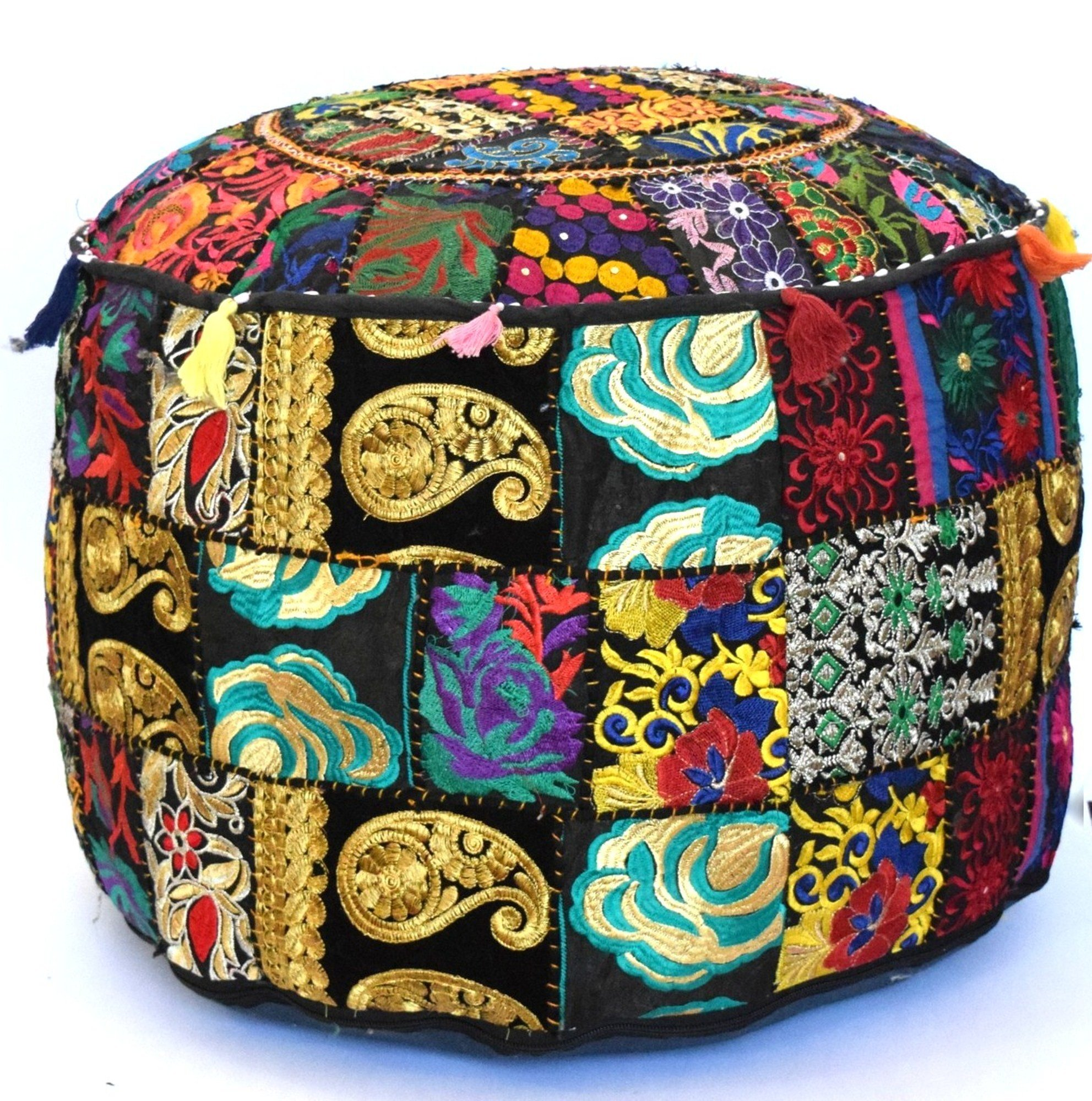 Americana decor's Bohemian Patchwork Ottoman Cover vintage Traditional indian pouf cover ''14x22'' cotton decorative chair ''Filler Not Inculded'' (Black)