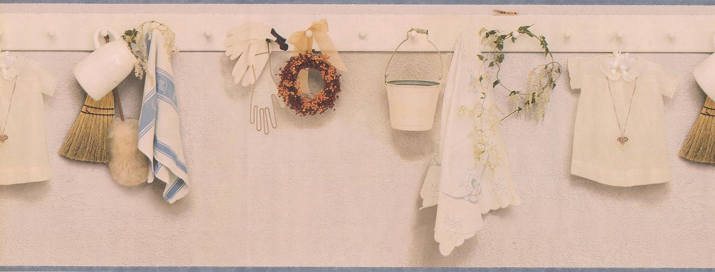 Cream Kitchen Laundry Pegboard Wallpaper Border 30286090