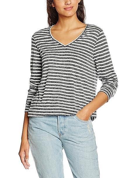 Ichi Jasmin LS, Camiseta de Manga Larga para Mujer, Gris (Grey Melange Stripe), 42 (Talla del Fabricante: L)