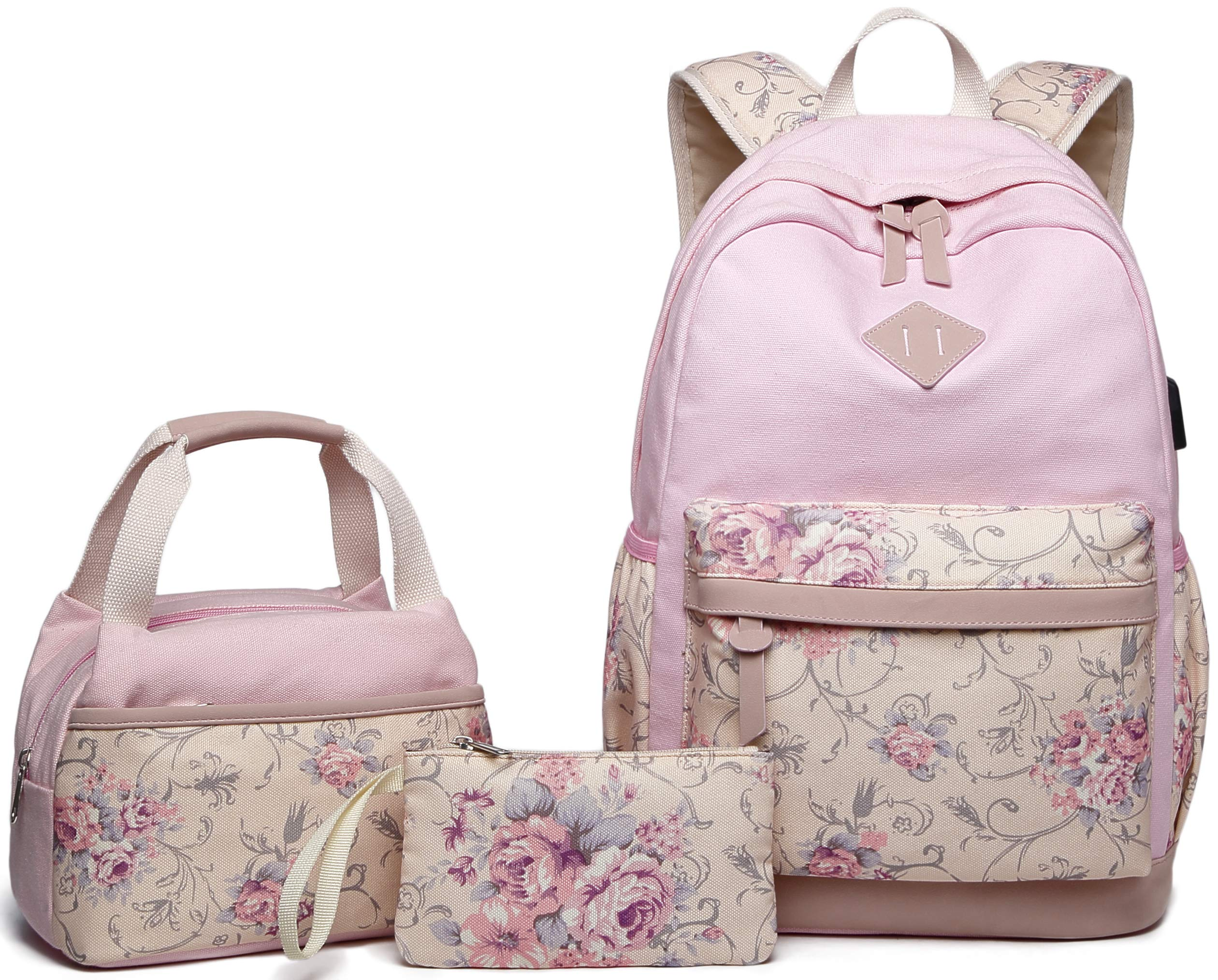 Abshoo Lightweight Canvas Floral Teen Backpacks for Girls School Backpack with Lunch Bag (9G4 Pink) by abshoo