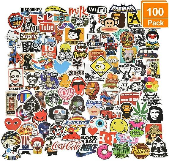 Willingood Aufkleber 100 Stück Wasserdicht Vinyl Stickers Graffiti Style Decals Für Auto Motorräder Fahrrad Skateboard Snowboard Gepäck Laptop Aufkleber Macbook Ipad Und Mehr Küche Haushalt