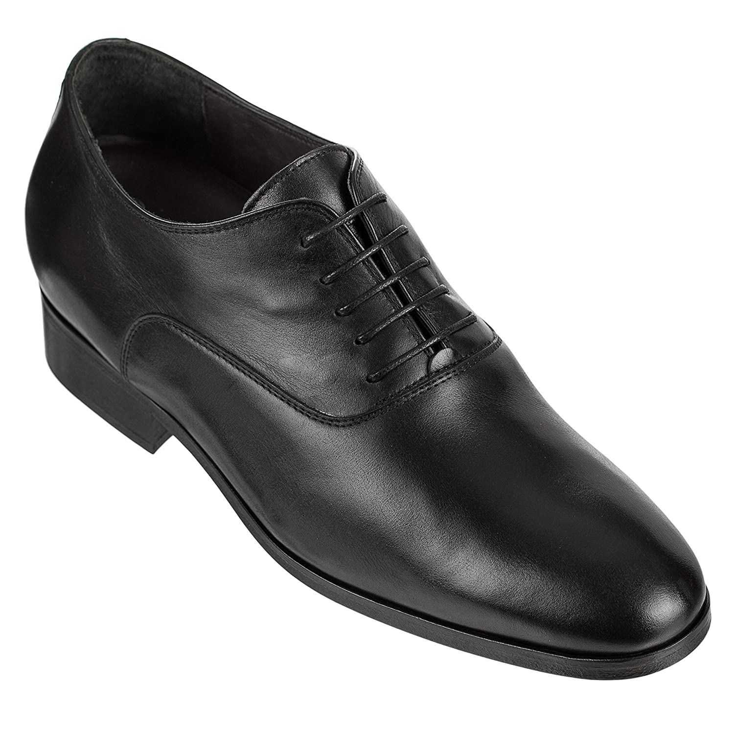 - CALTO Men's Invisible Height Increasing Elevator shoes - Black Premium Leather Lightweight  Made Lace-up Formal Oxfords with Leather Sole - 2.8 Inches Taller - D0225