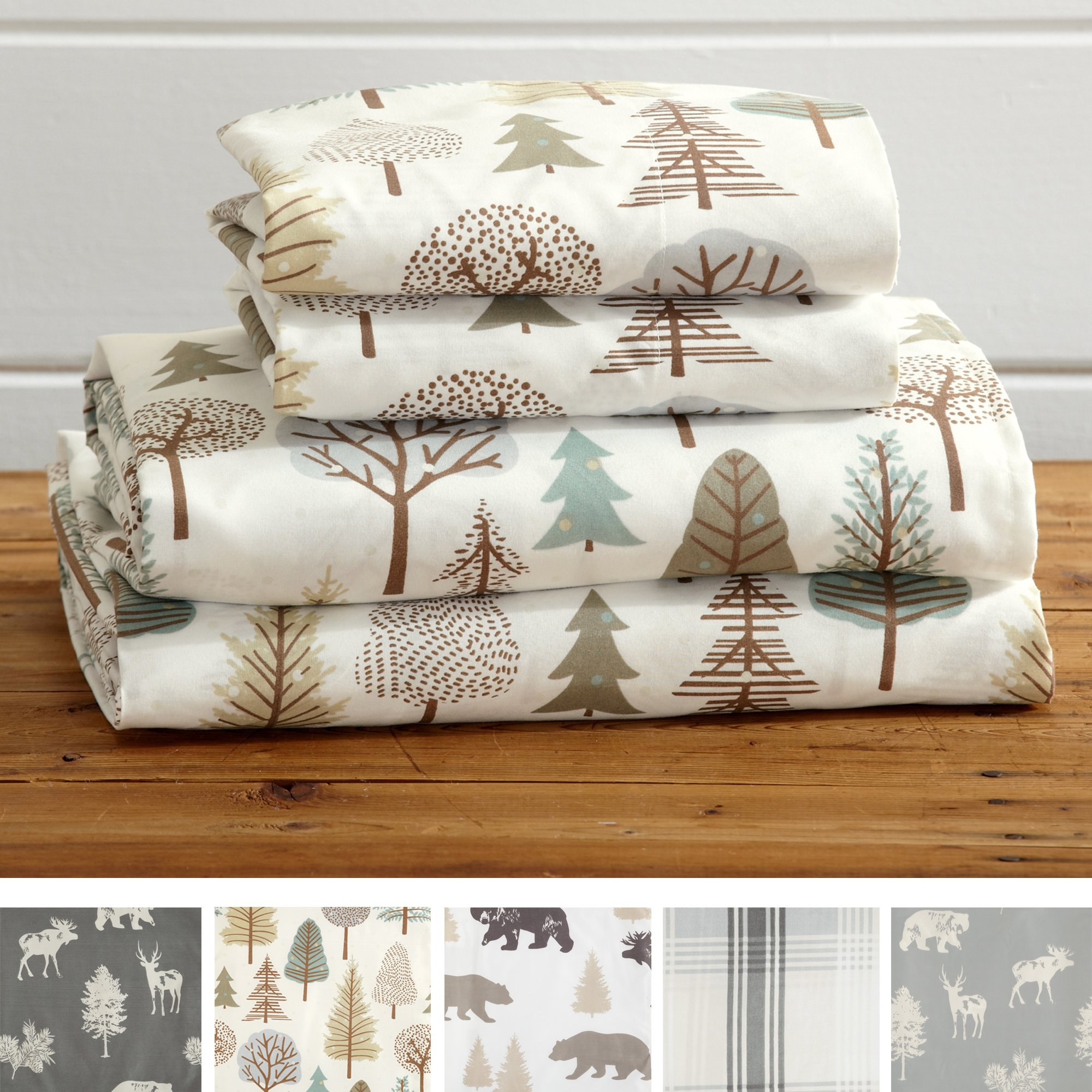 Great Bay Home 4-Piece Lodge Printed Ultra-Soft Microfiber Sheet Set. Beautiful Patterns Drawn from Nature, Comfortable, All-Season Bed Sheets. (Full, Forest Trail)