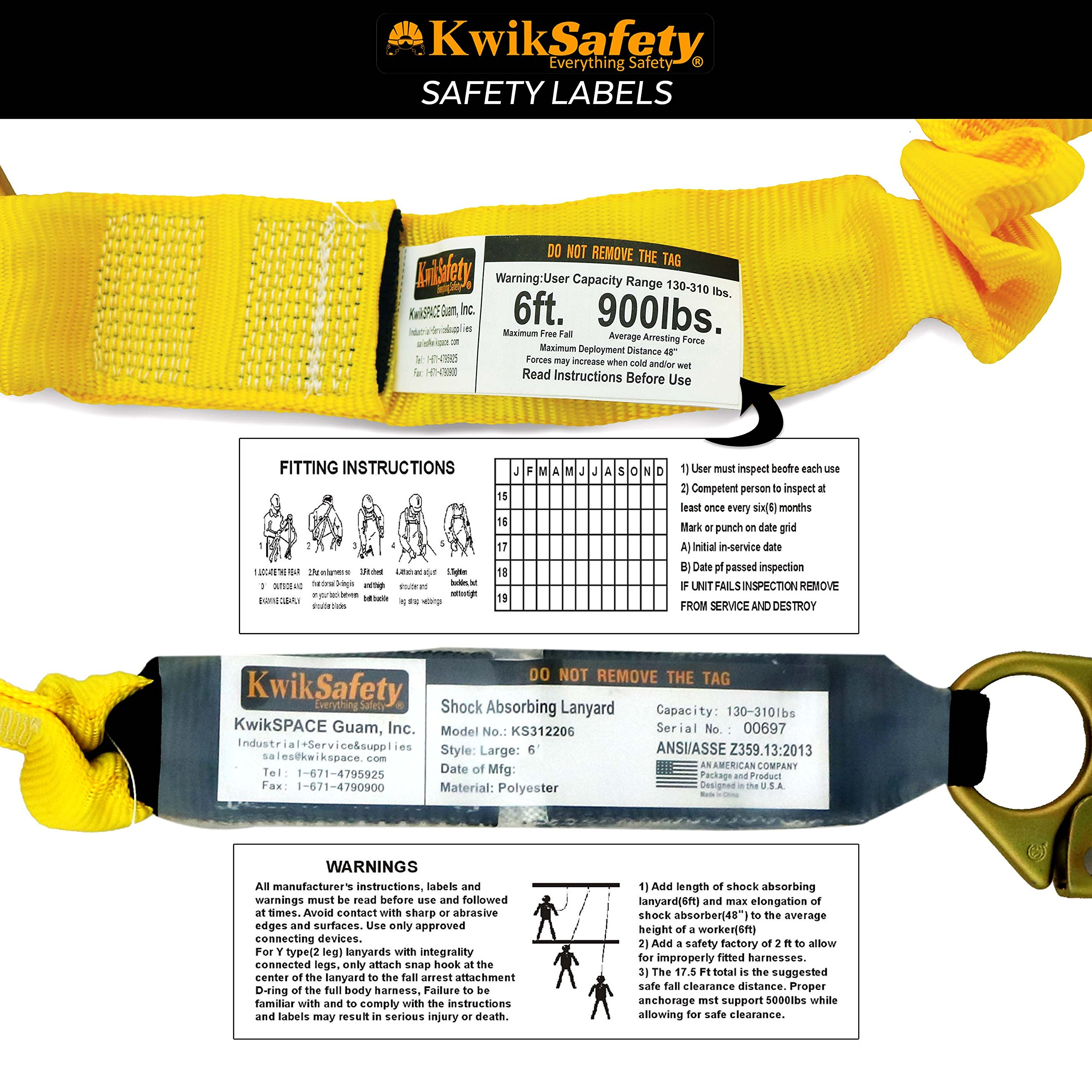 KwikSafety (Charlotte, NC) BOA 4 PACK (External Shock Absorber) Single Leg 6ft Safety Lanyard OSHA ANSI Fall Protection Restraint Equipment Snap Rebar Hook Connectors Construction Arborist Roofing by KwikSafety (Image #7)