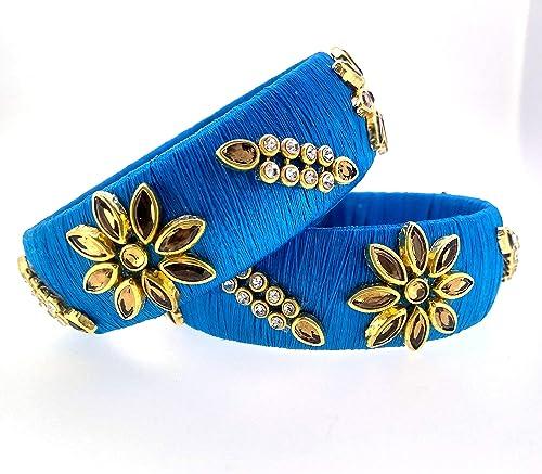 Suratna Beautiful Designer Royal Silk Thread Bangle For Women