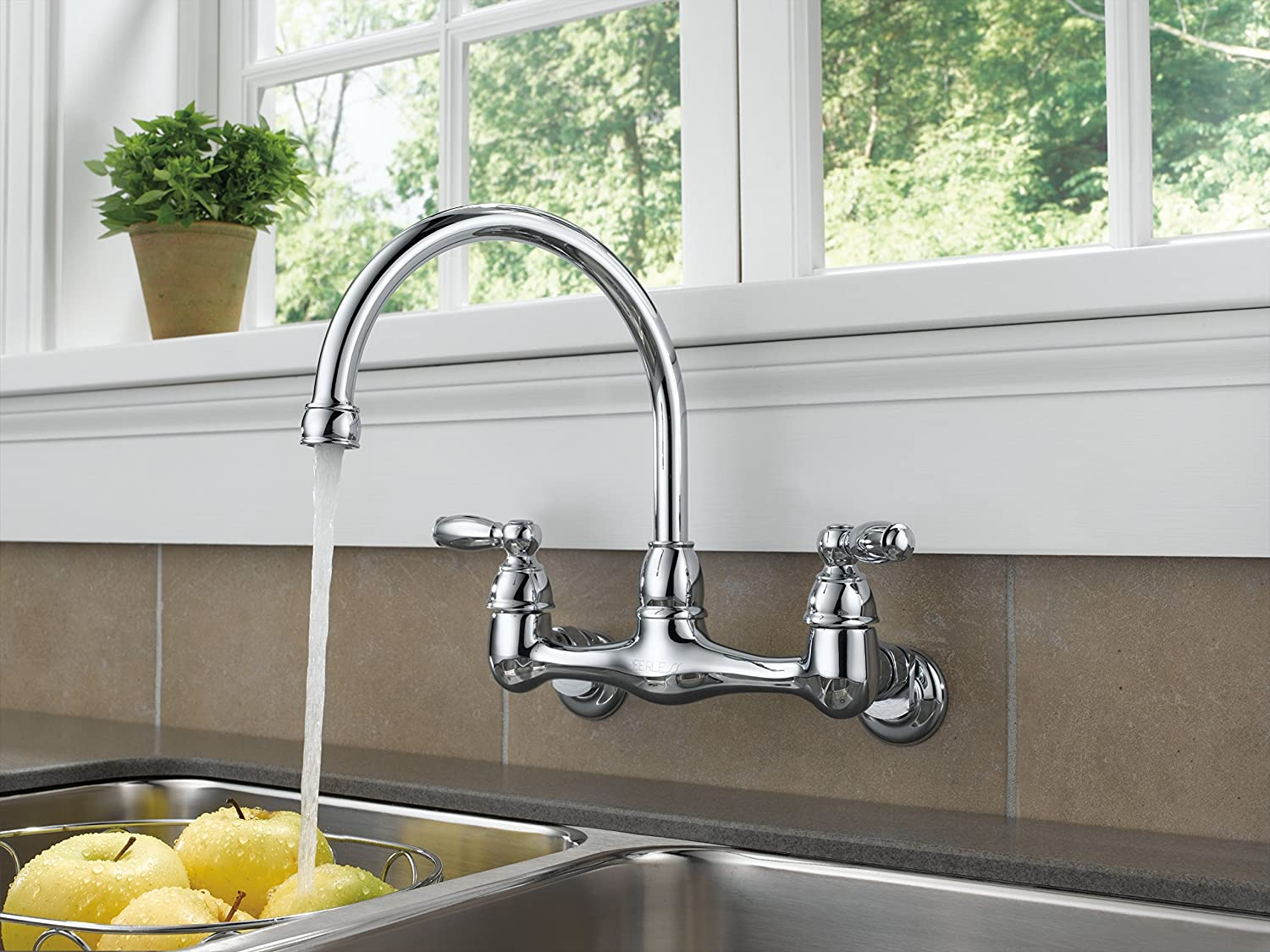 Captivating Peerless P299305LF Choice Two Handle Wall Mounted Kitchen Faucet, Chrome,  Accessories   Amazon Canada