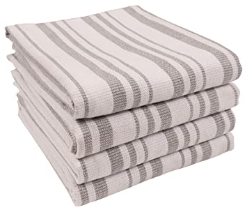 Terry Cloth Kitchen Towels.Kaf Home York Casserole Stripe Reversible Terry Cloth Kitchen Towels Set Of 4 100 Cotton Absorbent And Function Kitchen Utility Towels Light Gray