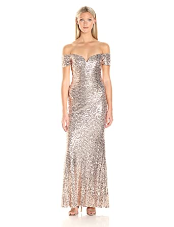 Badgley Mischka Womens Off The Shoulder Stretch Sequin Gown
