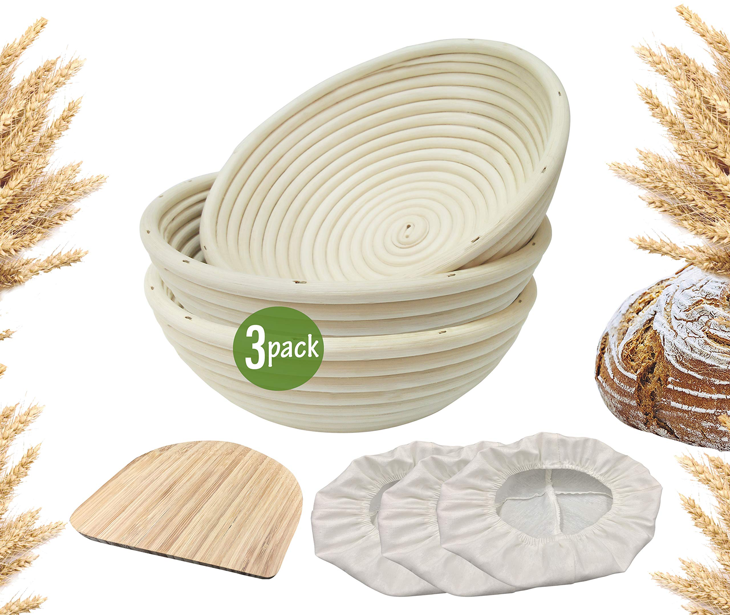 9 inch Banneton Proofing Baskets for Sourdough Bread | Wicker Round Brotform Set with Bamboo Dough Scraper & Cloth Liners | Food-Safe Cane Bread Proofer for Rising (3 Pack 9'' Round Bannetons)