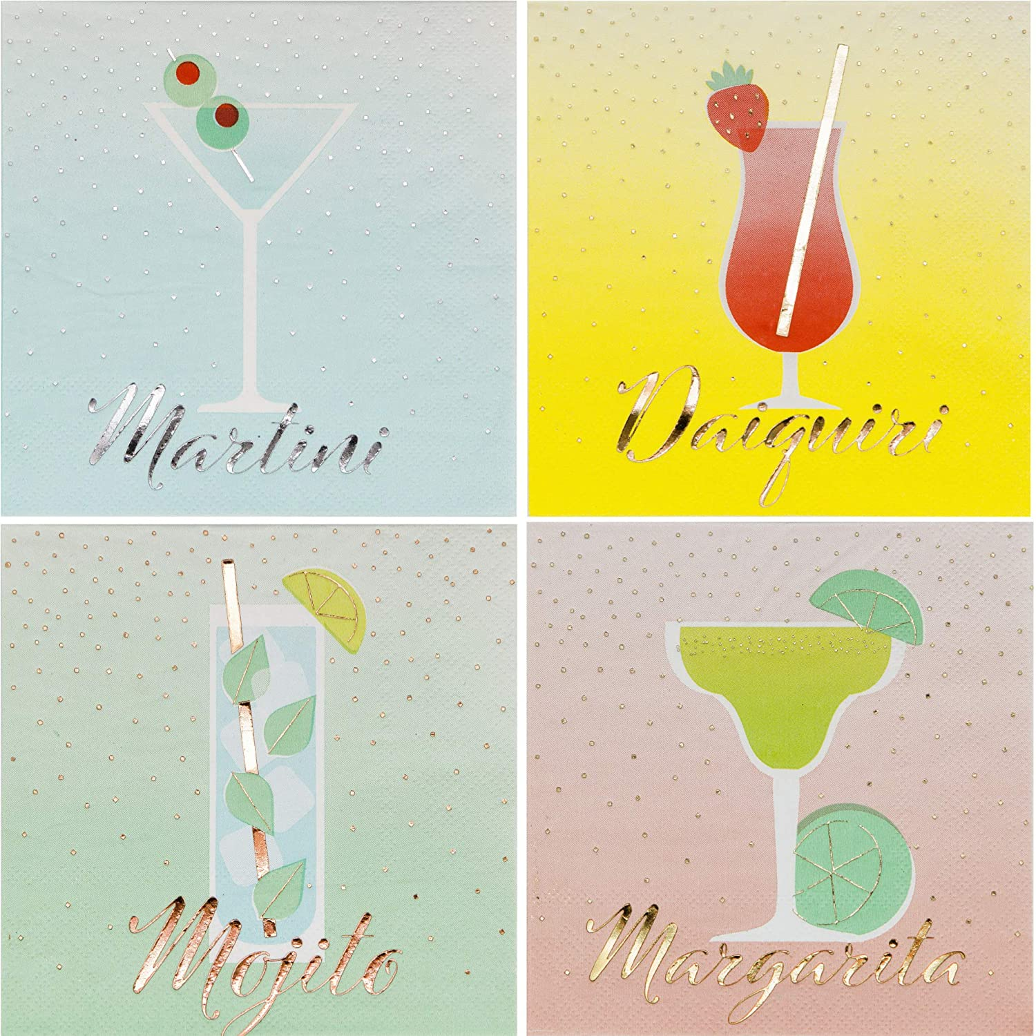 Fun Cocktail Themed Beverage Napkins Ladies Night Variety Pack   Bundle Includes 96 Total Paper Napkins in 4 Different Designs
