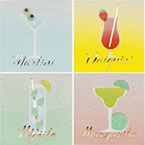 Fun Cocktail Themed Beverage Napkins Ladies Night Variety Pack | Bundle Includes 96 Total Paper Napkins in 4 Different Designs