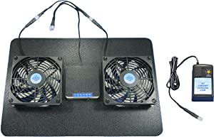 Receiver or Amplifier Megabase Cooling Fans with Adjustable Thermostat & Multispeed Control, for Home Theater