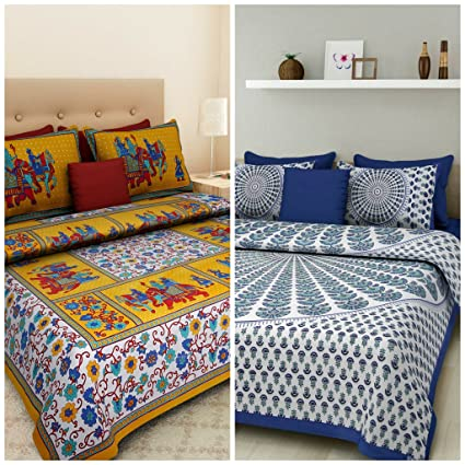 ae9629ff60 Buy Suraaj Fashion Combo Bedsheets for Double Bed Cotton 100% Jaipuri Cotton  Combo Set of 2 Double Bedsheets with 4 Pillow Covers Online at Low Prices  in ...