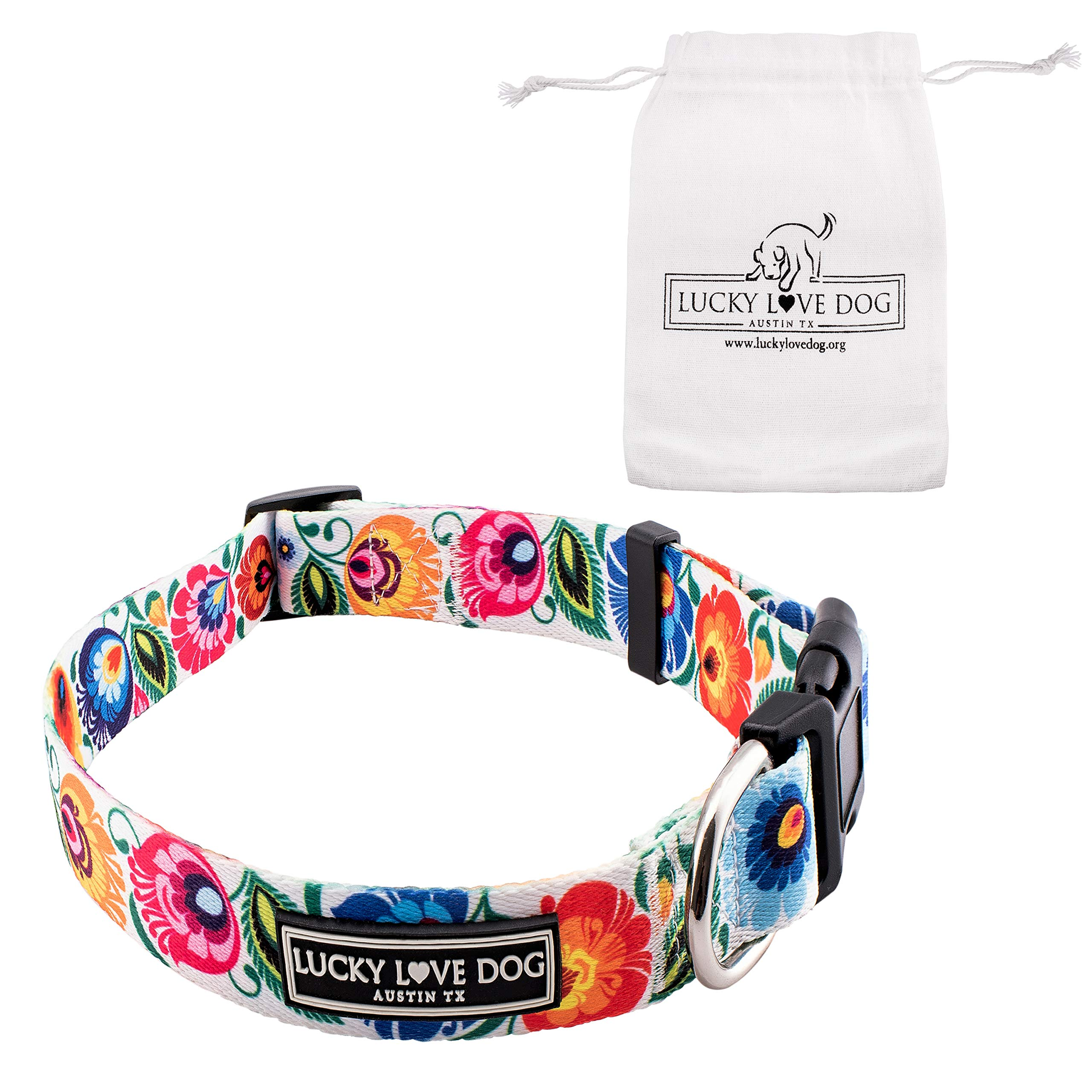 Lucky Love Dog Collars   Cute Girl Collars   Small Medium Large Female Collars   Part of Purchase Donated to Rescue (Lady Bird, Large)