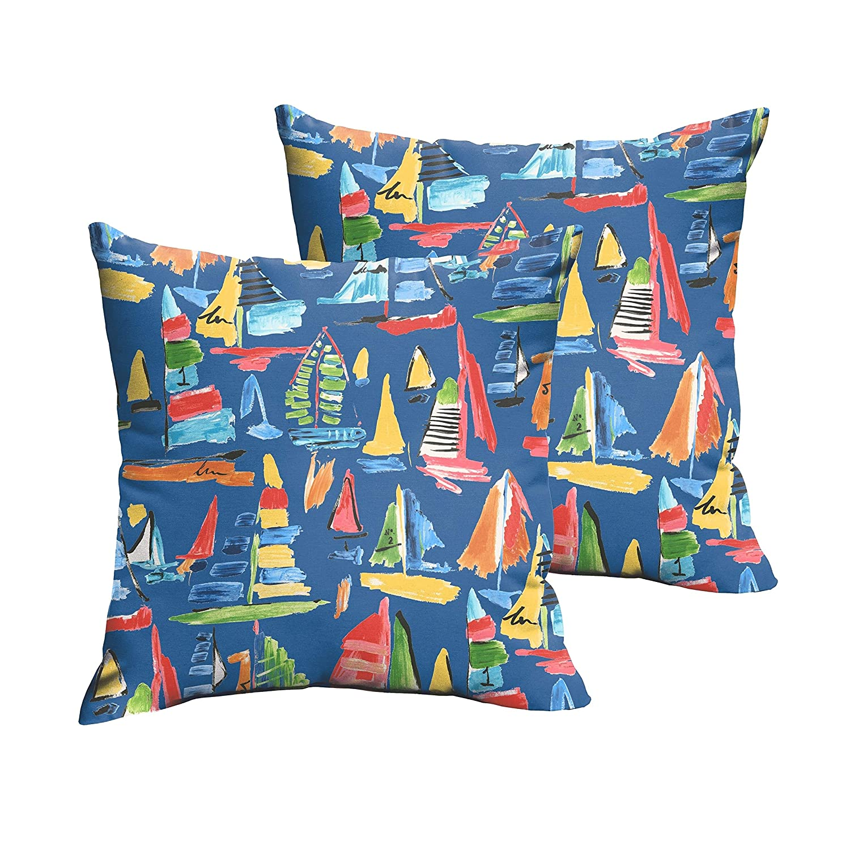 Mozaic Co SelenaブルーSailboatsインドア/アウトドアknife-edge正方形枕( Set of 2 ) 18 x 18 B073KWJ1F4