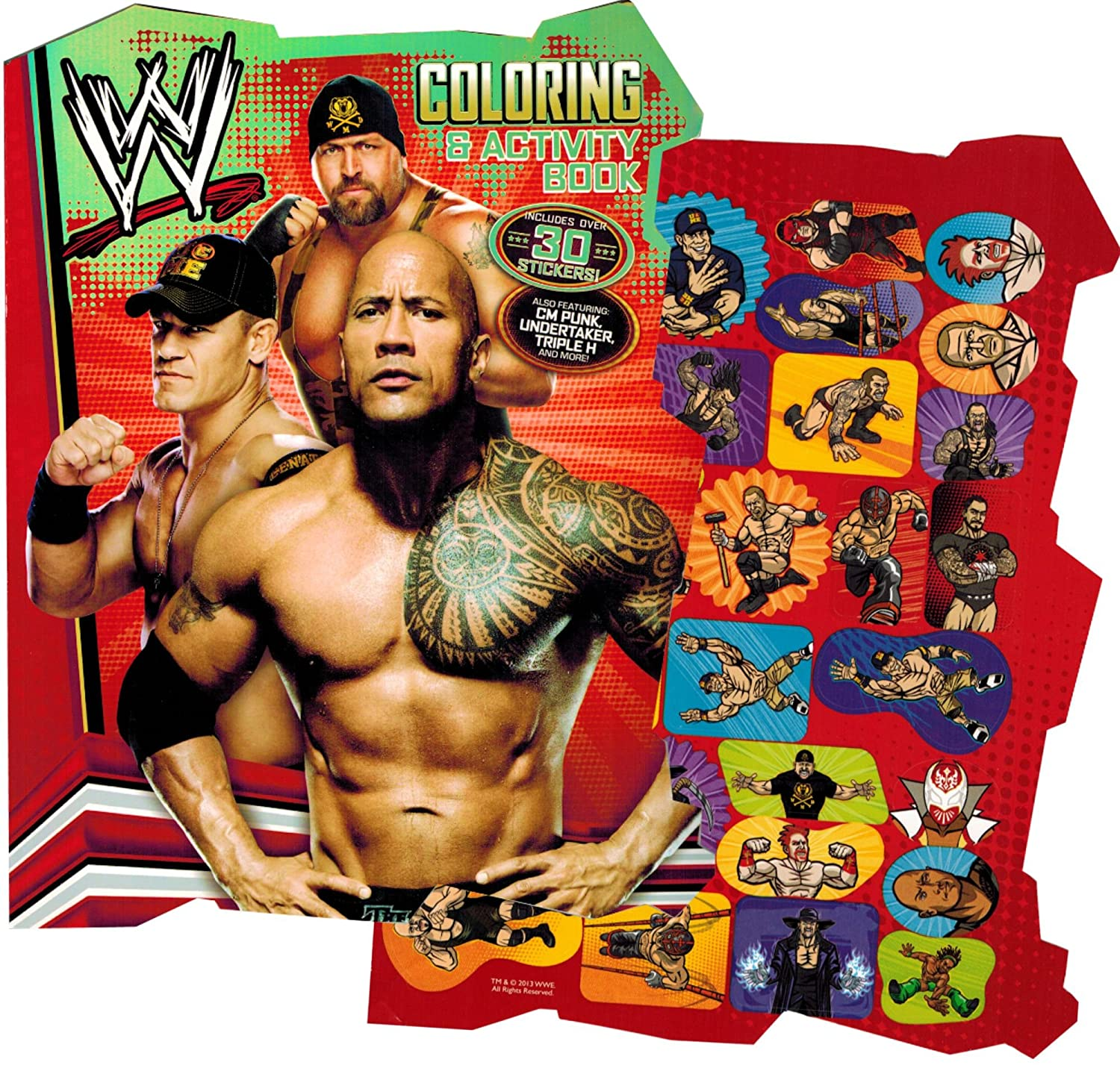amazoncom wwe world wrestling shaped coloring book with stickers arts crafts sewing - Wwe Coloring Books