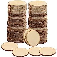 Kurtzy Naturliga Obehandlade Träbitar (50 Pack) 6-7 cm Diameter – Träcirklar med Bark och Inga Hål – För DIY Hantverk…