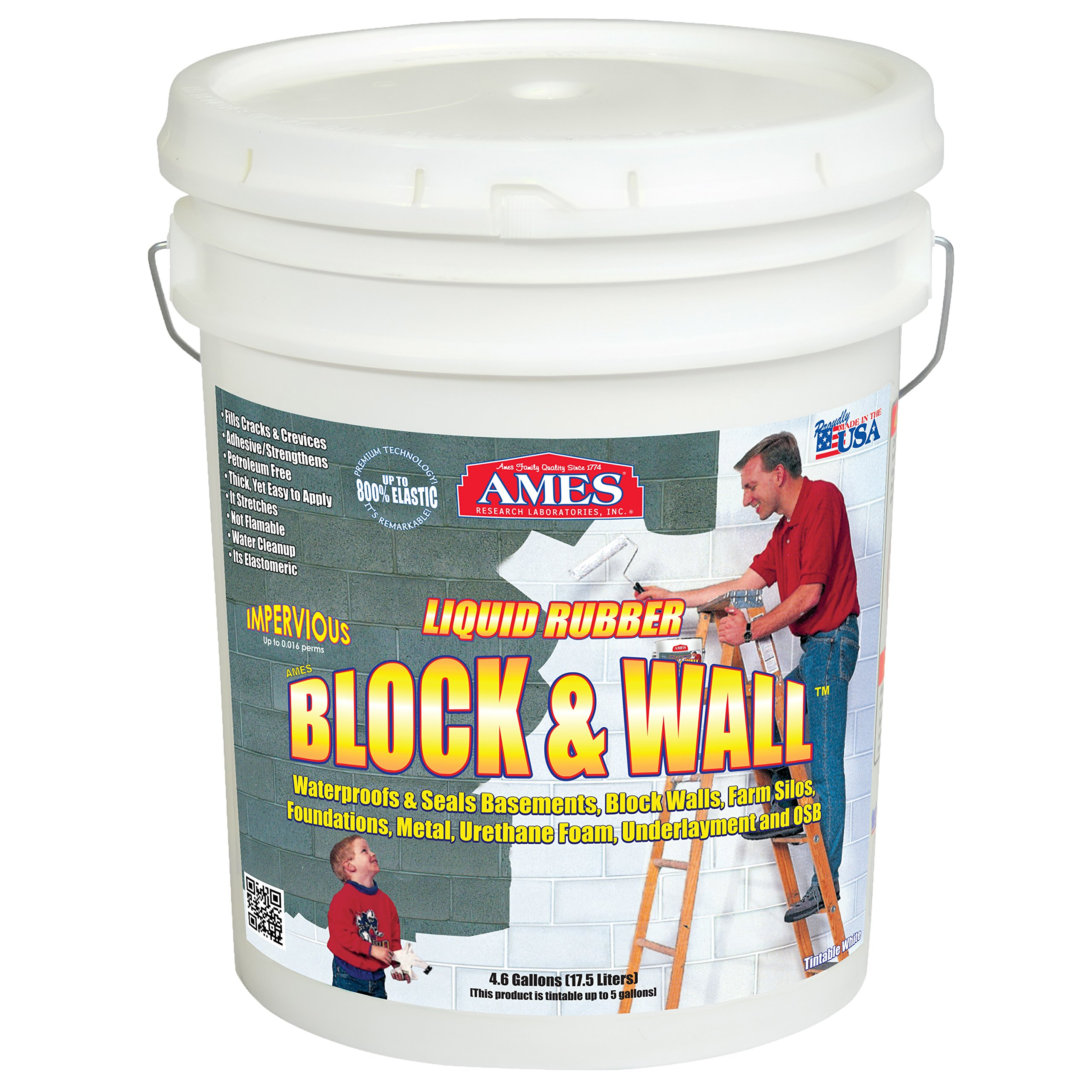 AMES RESEARCH LABORATORIES BWRF5 Water Base High Strength Elastomeric Liquid Rubber, 5 gallon White by Ames