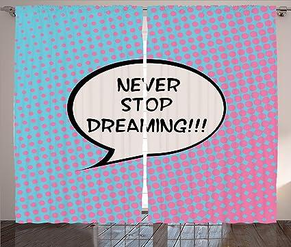 Amazoncom Ambesonne Quotes Decor Curtains Retro Never Stop