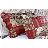 English Roses Quilt Set, Cotton Rich,Prewashed, Preshrunk.as Bedspread, Bedcover, Bed Throw