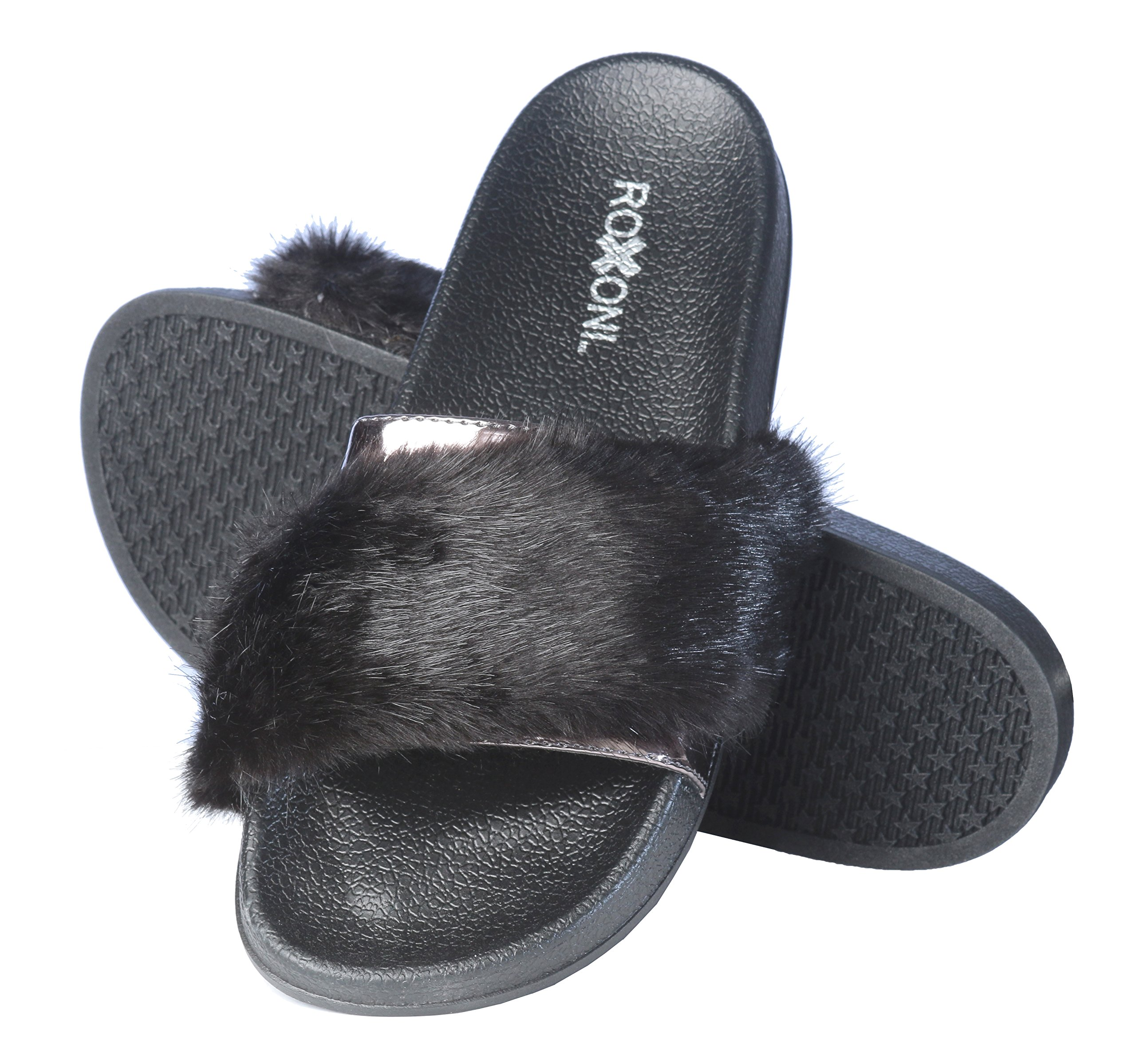 Roxoni Women's Summer Faux Fur and Metallic Open Toe Slide Sandal Slippers