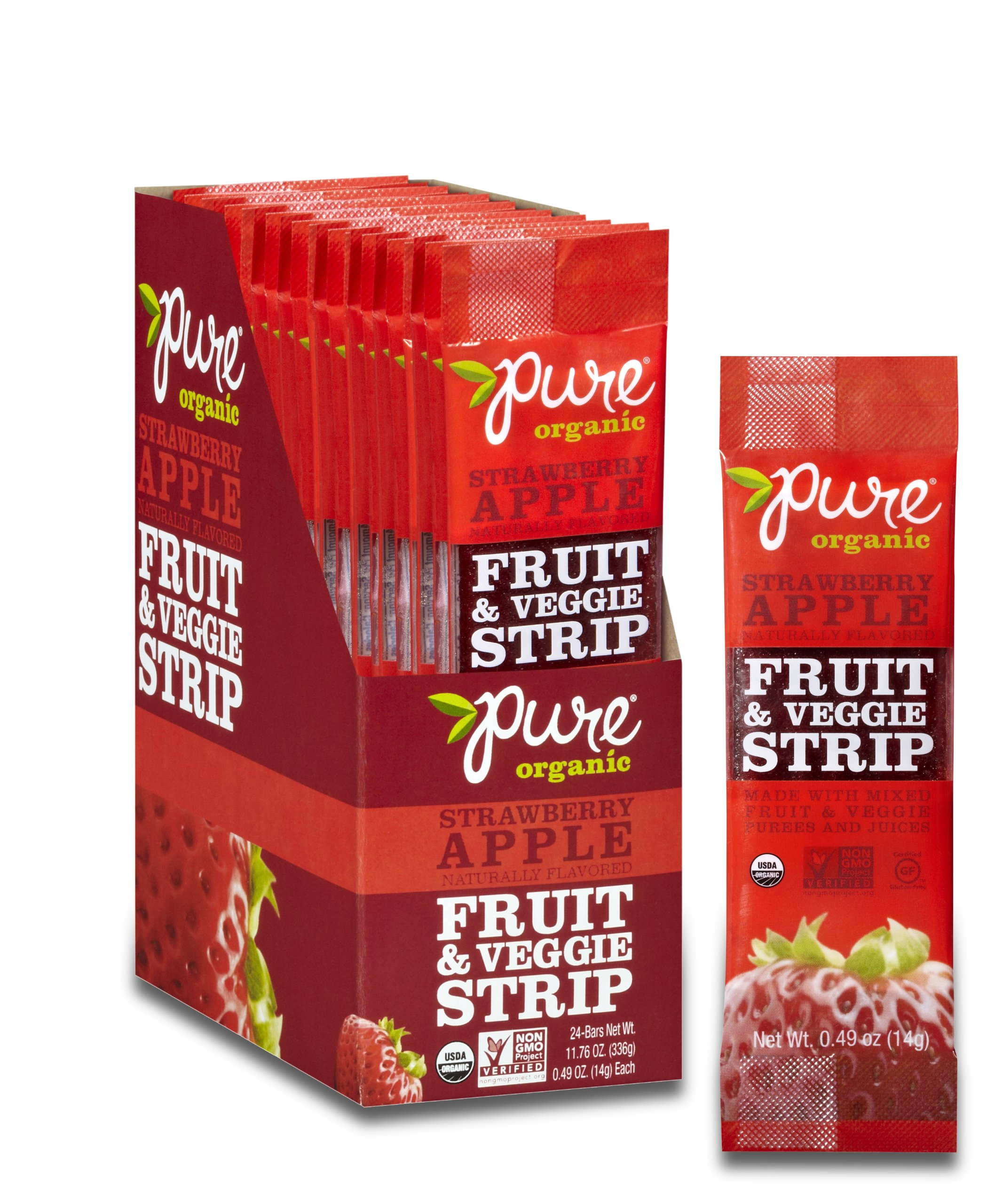 Pure Organic Strawberry Apple Fruit & Veggie Strip, Certified Organic, Gluten-Free, Non-GMO, Vegan, Kosher, Peanut Free, No Artificial Ingredients, Fruit Snack, 0.49 ounce (Pack of 24)