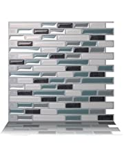 Tic Tac Tiles Anti-Mold Peel and Stick Wall Tile in Como Marrone
