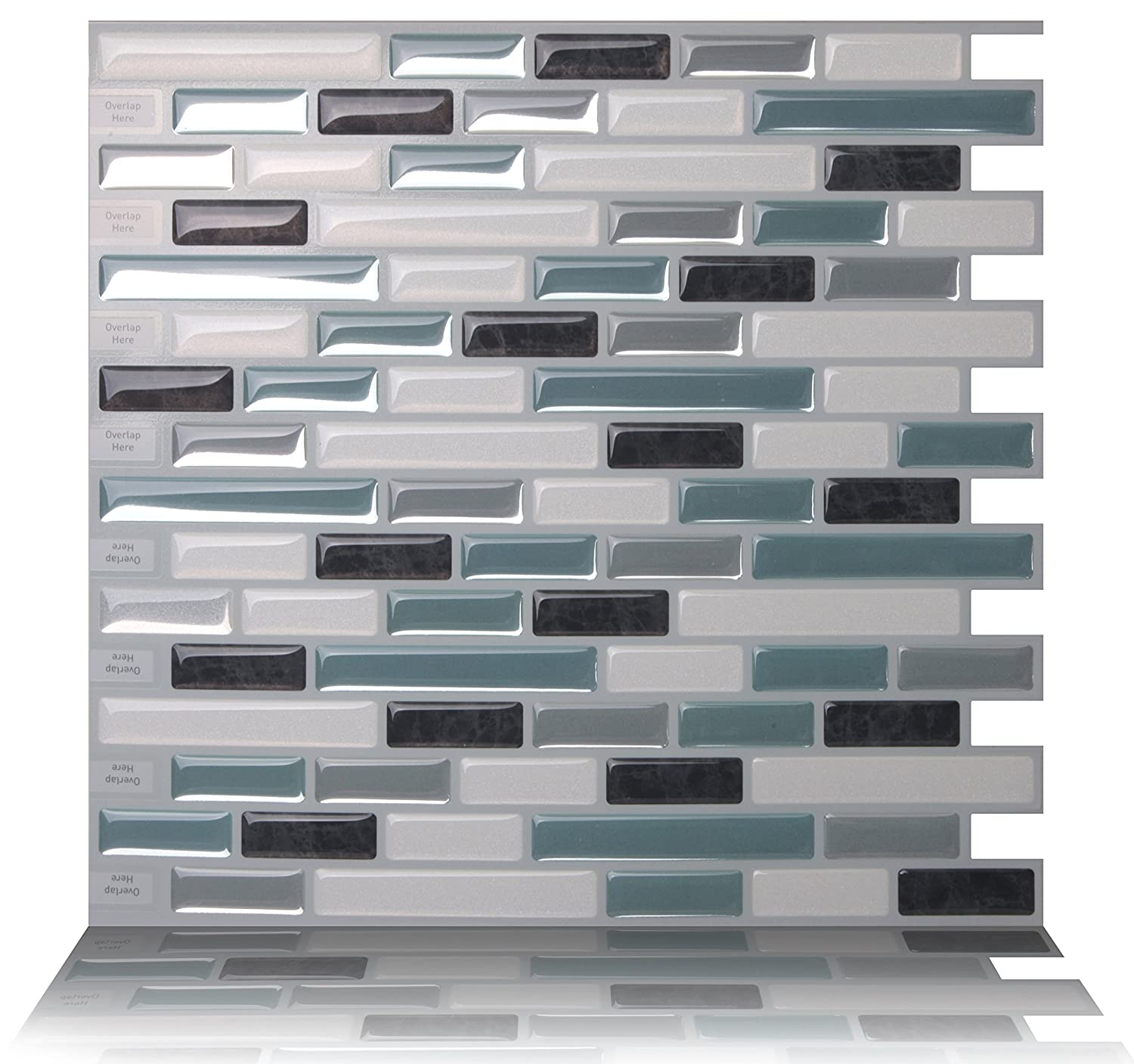 Amazon.com: Tic Tac Tiles Anti-mold Peel and Stick Wall Tile in Como ...