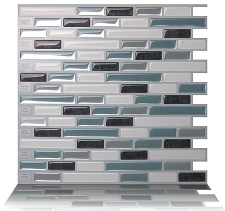 tic tac tiles anti mold peel and stick wall tile in como marrone rh amazon co uk Stick Tiles On Kitchen Wall Peel and Stick Tiles for Kitchen Backsplash