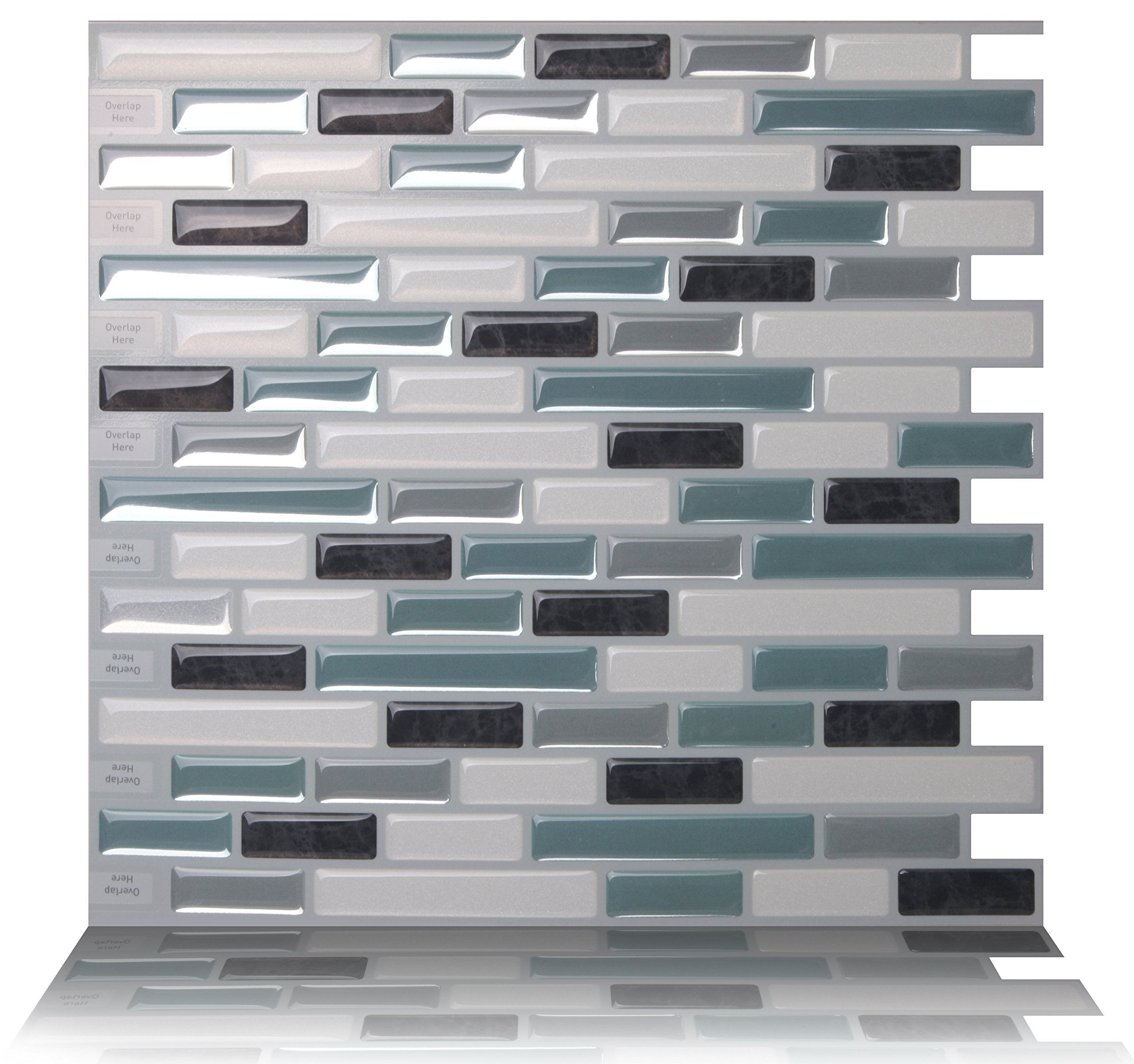 Tic Tac Tiles Anti-mold Peel and Stick Wall Tile in Como Marrone (10 Tiles)