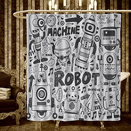 Homecoco Robot Shower Curtains Digital Printing Futuristic Space Doodle Style Androids Sci Fi Pattern Fantasy Machine