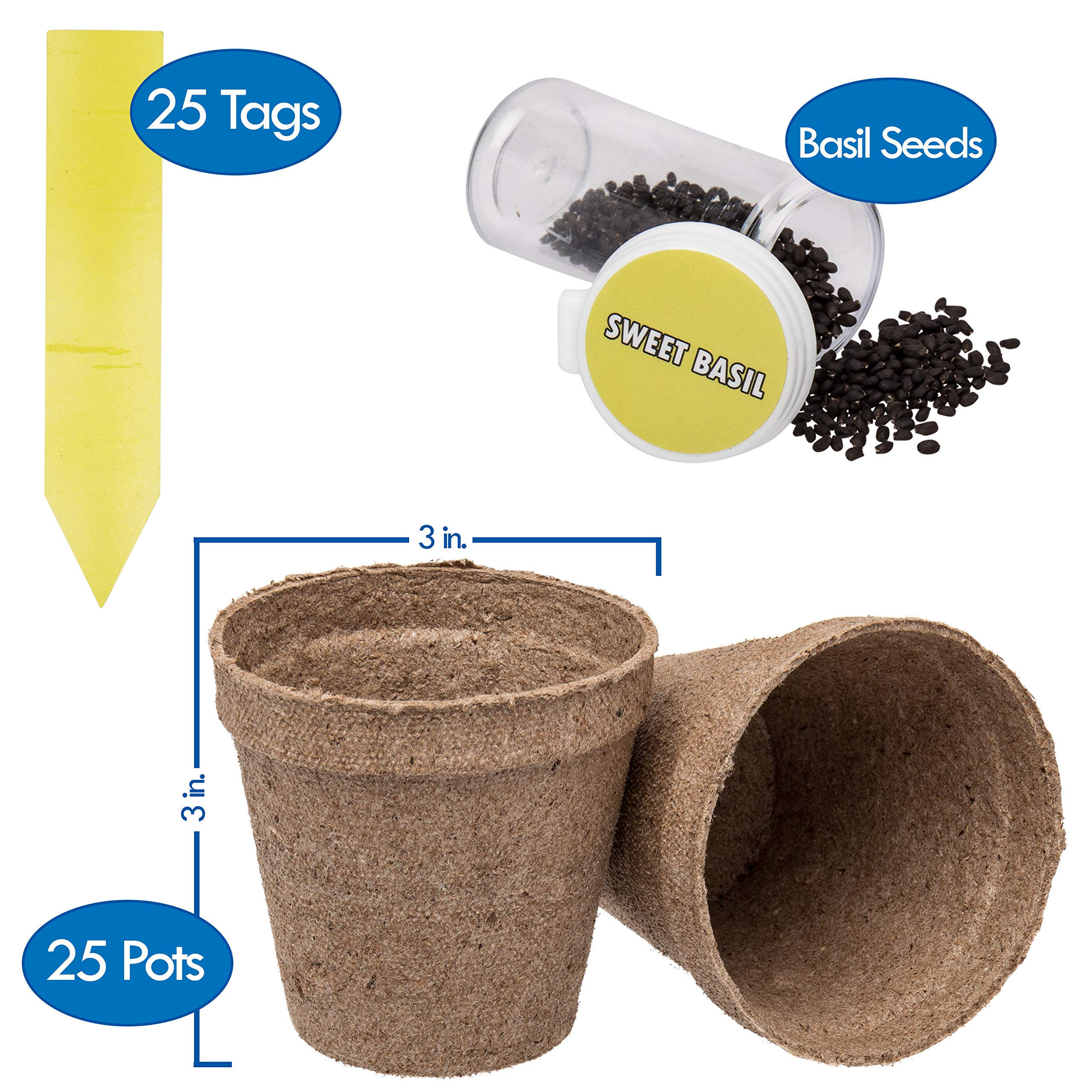 Ashbrook Outdoors Biodegradable Seed Starter Peat Pots - Large 3'' | 25 Pack of Gardening Pots for Herbs, Seeds, Flowers & Plants | Includes 25 Easy Label Tags & Bonus Basil Seeds | Full Growing Kit
