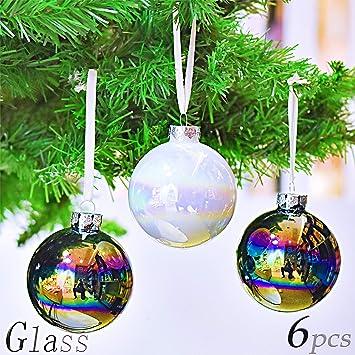 Christbaumkugeln Glas Bunt.Valery Madelyn 6 Stucke 8cm Weihnachtskugeln Glas Bunte Glanzende Christbaumkugeln Mit Aufhanger Weihnachtsbaumschmuck Weihnachten Dekoration