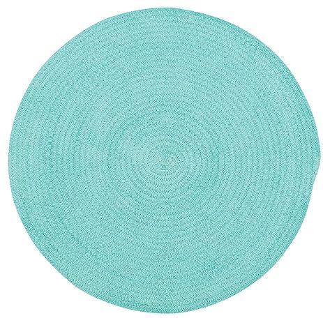 Capel Rugs Custom Classics Round Braided Chair Pad, 15u0026quot;, Island Blue