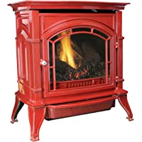 Ashley AGC500VFRN Vent-Free Red Enameled Porcelain Cast Iron Stove, 31,000 BTUs (Natural Gas)
