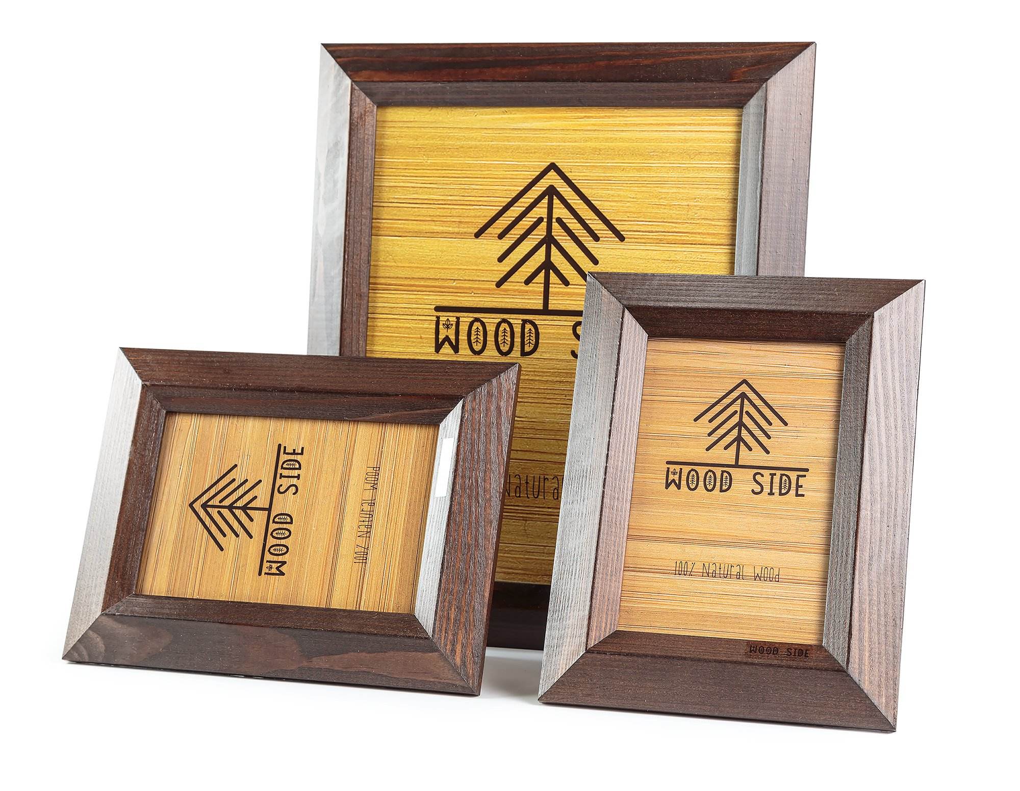 8x10 Wooden Picture Frames Brown - Pack of Two 4x6 inch and one 8x10 Rustic Picture Frame Made of Solid Wood High Definition Glass for Table Top Display and Wall mounting Photo Frame Walnut by Wood Side