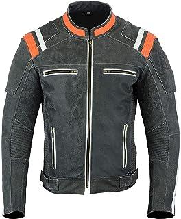 LeatherTeknik JACKET DC-4099 - Chaqueta de piel para hombre, diseño de motocicleta, alta…