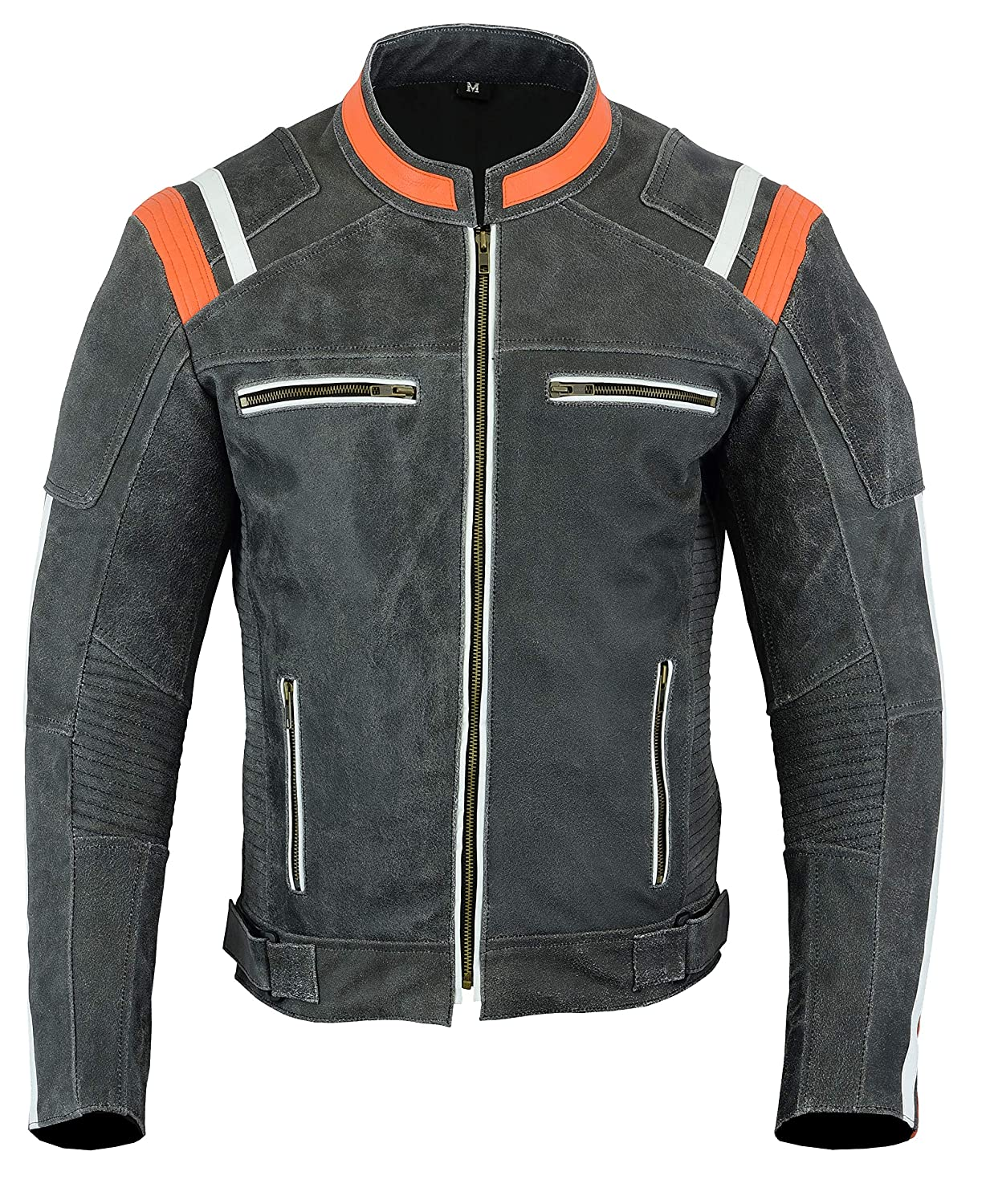 CDM product Mens MOTORCYCLE LEATHER JACKET VINTAGE BIKERS STYLE BLACK/ORANGE DC-4099 (M) big image