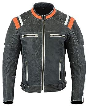 LeatherTeknik JACKET DC-4099 - Chaqueta de piel para hombre, diseño de motocicleta, alta protección: Amazon.es: Coche y moto