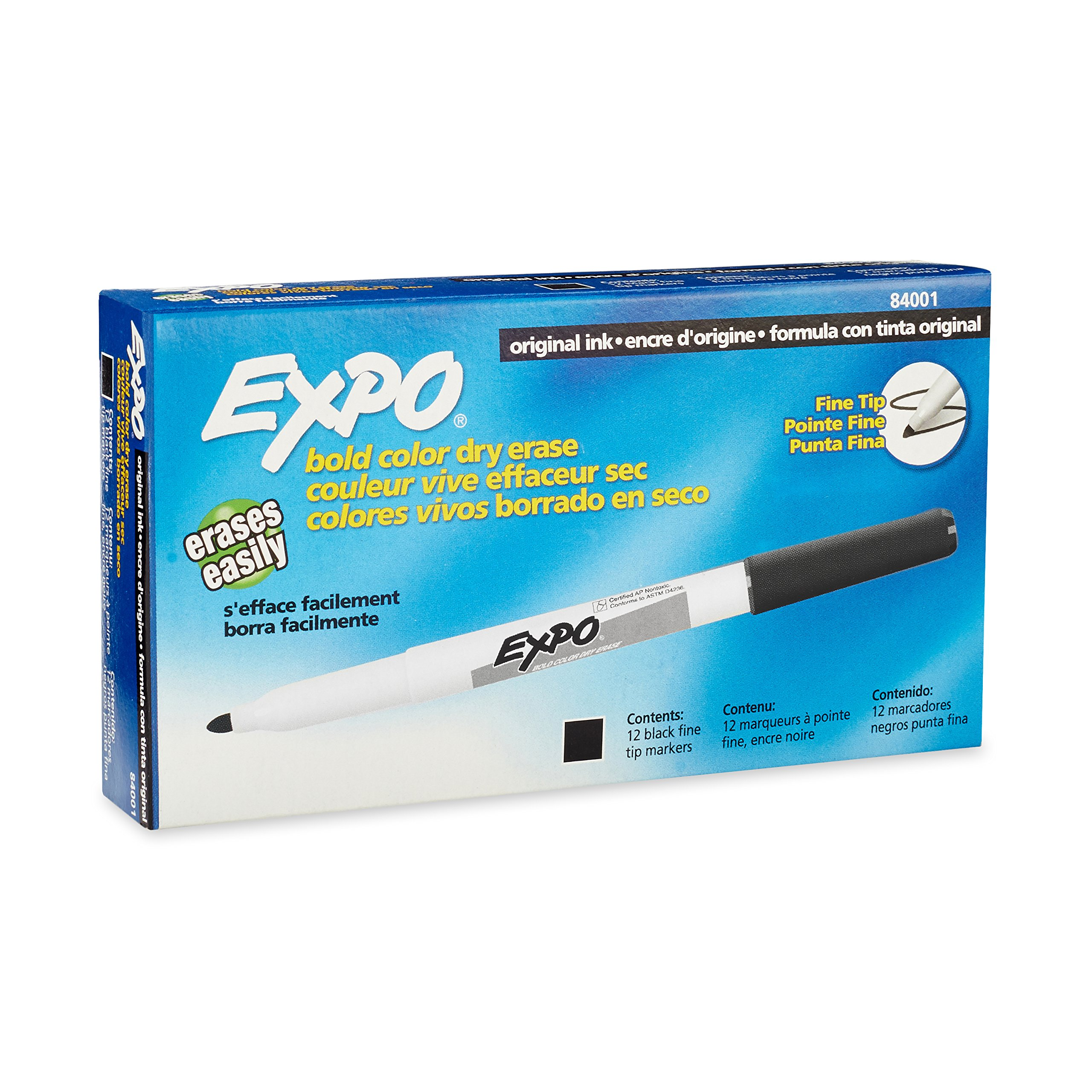 EXPO Dry Erase Markers, Fine Point, Black, 12-Count