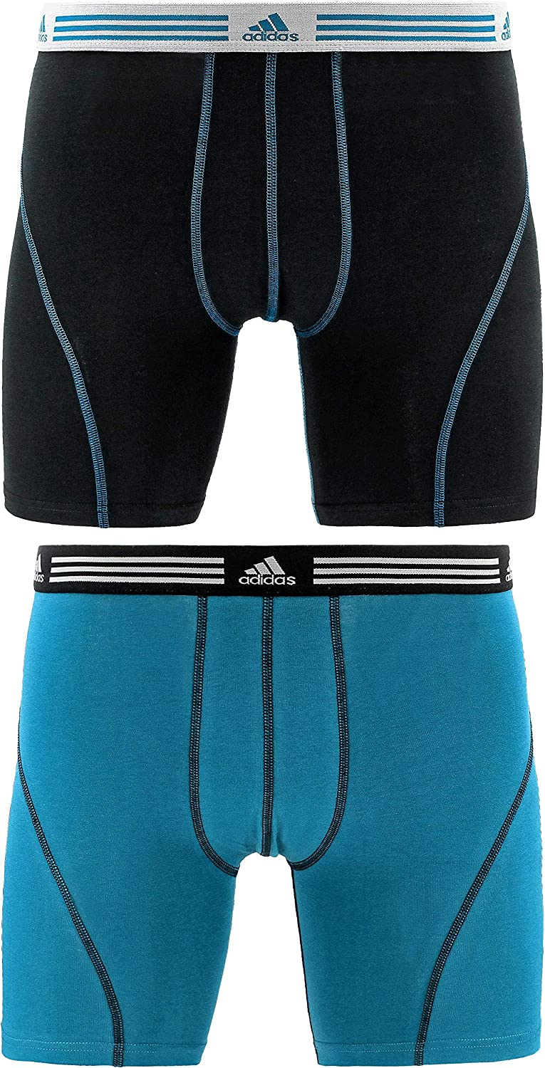 adidas Men's Athletic Stretch Cotton Boxer Brief Underwear (2-Pack)