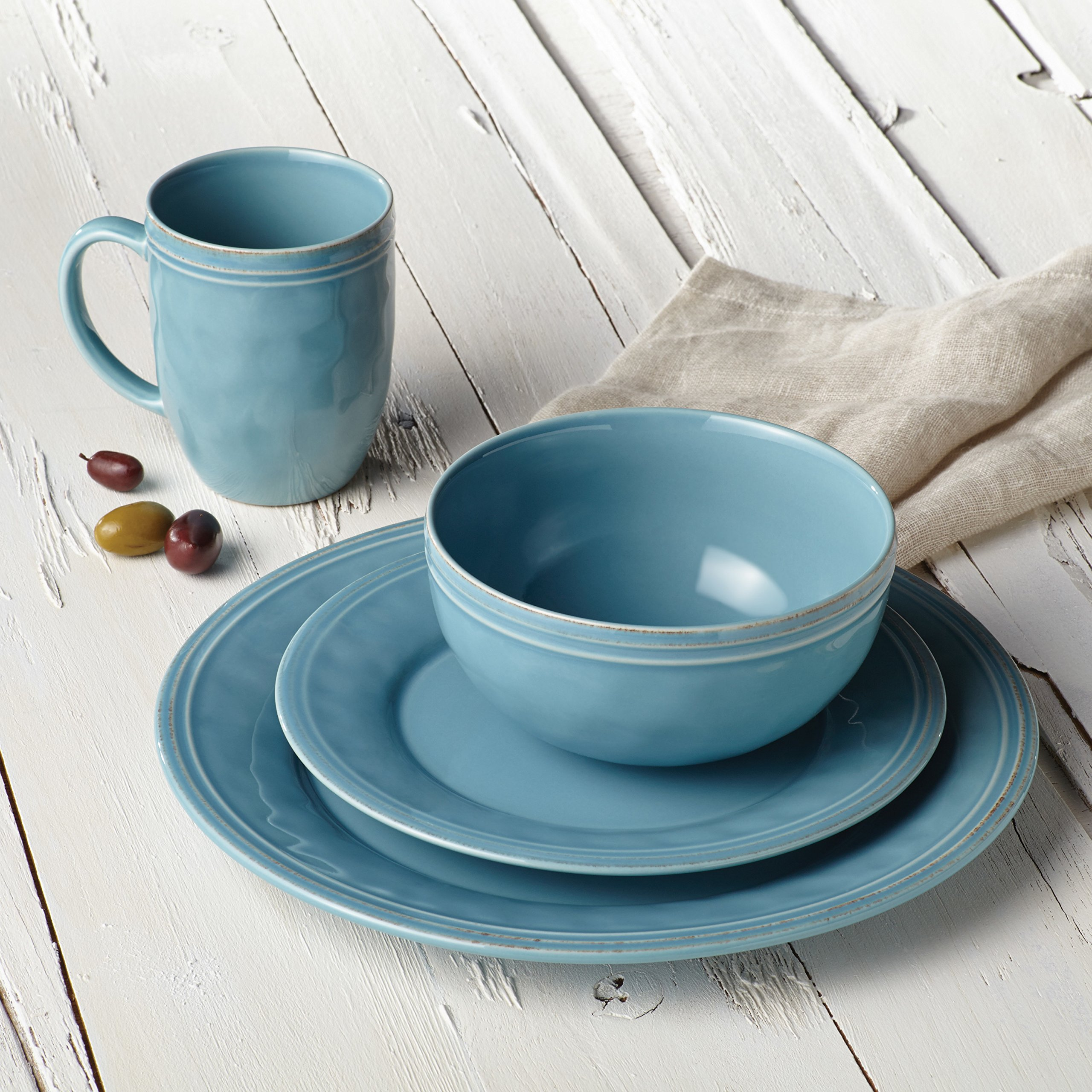 Rachael Ray Cucina Dinnerware 16-Piece Stoneware Dinnerware Set, Agave Blue by Rachael Ray (Image #13)