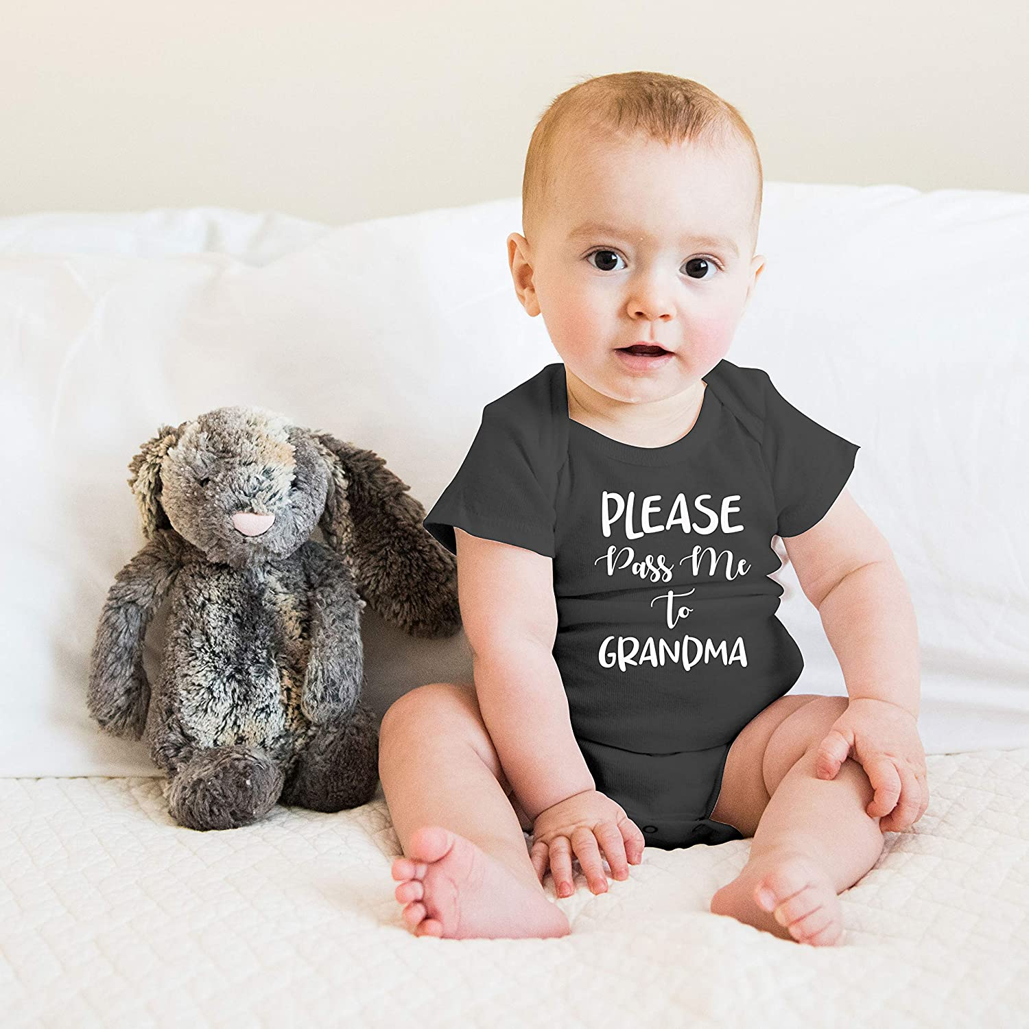 Witty Fashions Please Pass Me to Grandma Funny Cute Novelty Infant Creeper One-Piece Baby Bodysuit