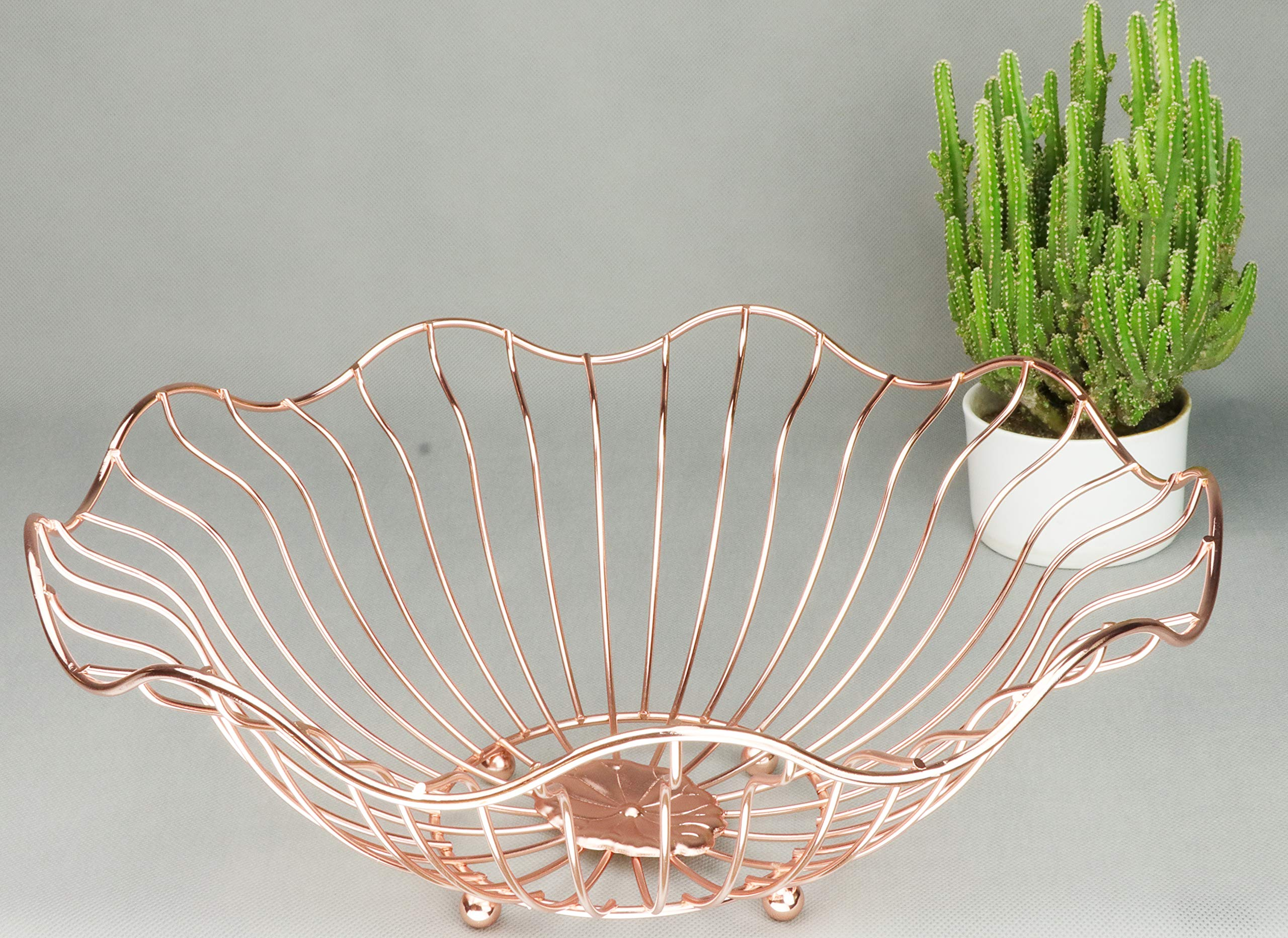 RosyLine Fruit basket, household fruit bowl, decorative display rack, multi purpose storage basket, home decoration (Rose gold)