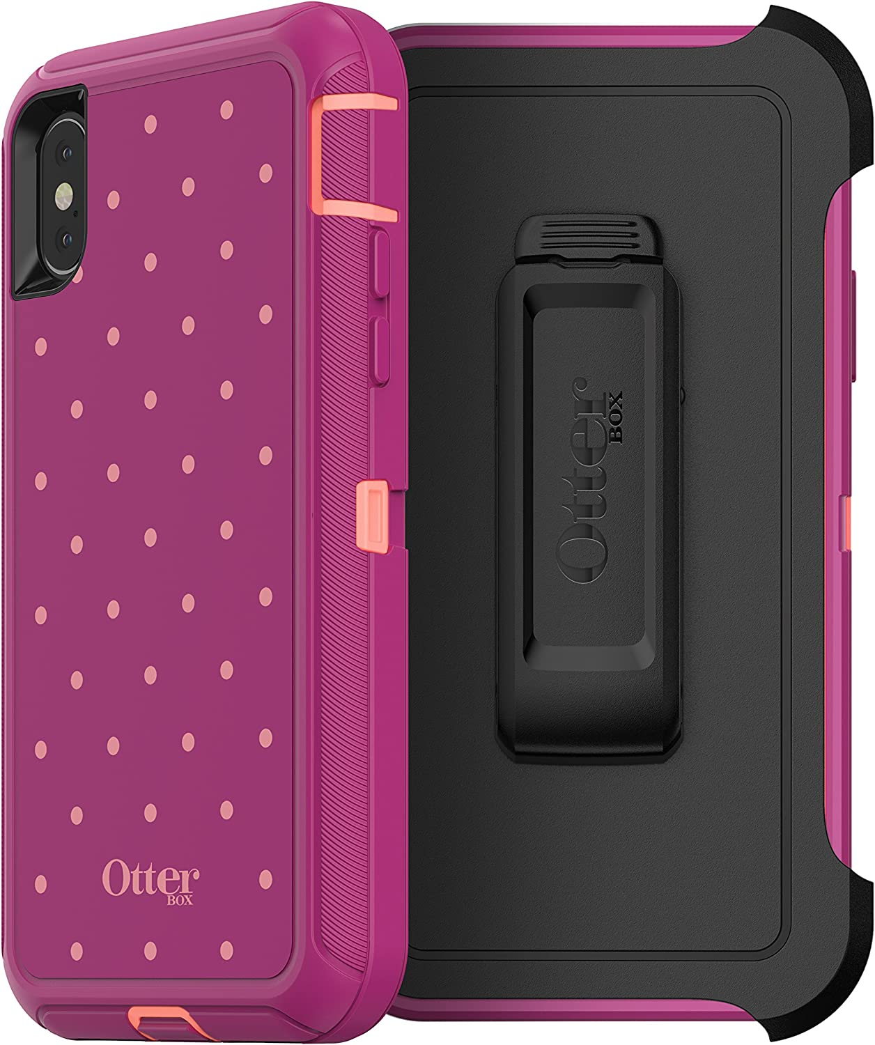 OtterBox DEFENDER SERIES SCREENLESS EDITION Case for iPhone Xs & iPhone X - Retail Packaging - CORAL DOT (FUSION CORAL/BATON ROUGE/METALLIC DOT)