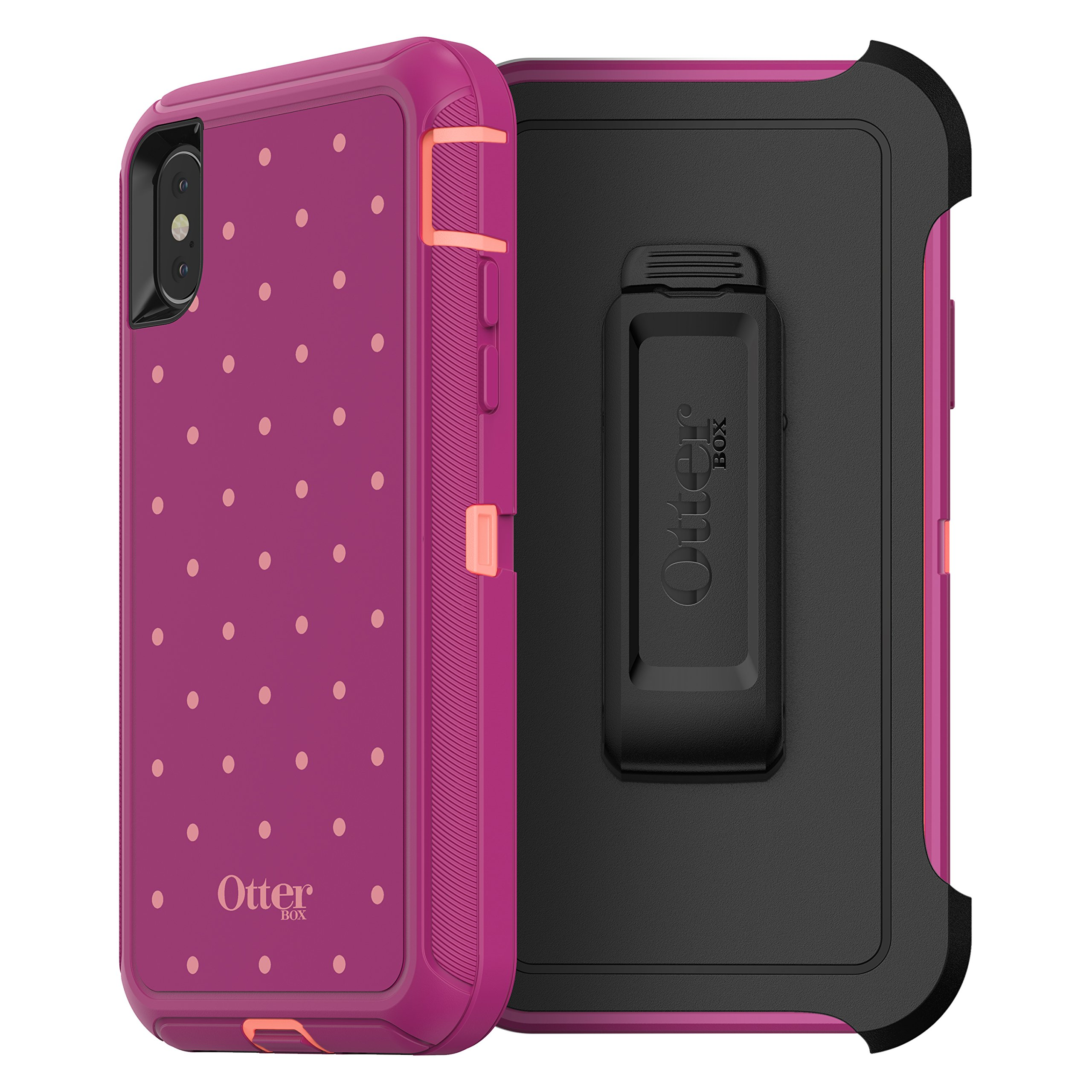 OtterBox Defender Series Case for iPhone X (ONLY) - Coral DOT (Fusion Coral/Baton Rouge/Metallic DOT)
